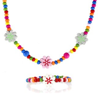 Multicolor Wooden Flower Necklace and Bracelet Set