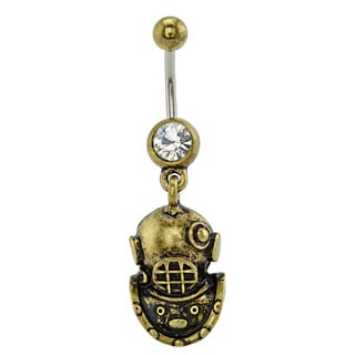 Supreme Jewelry Antique Goldtone Scuba Mask Belly Ring
