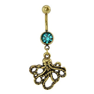 Supreme Jewelry Burnished Goldtone Octopus Belly Ring