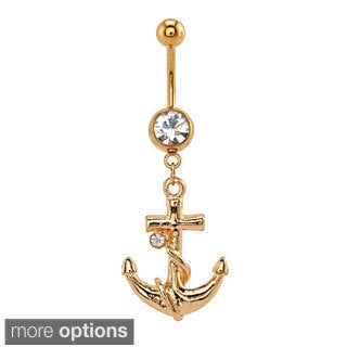Supreme Jewelry Surgical Steel Clear Stone Anchor Belly Ring