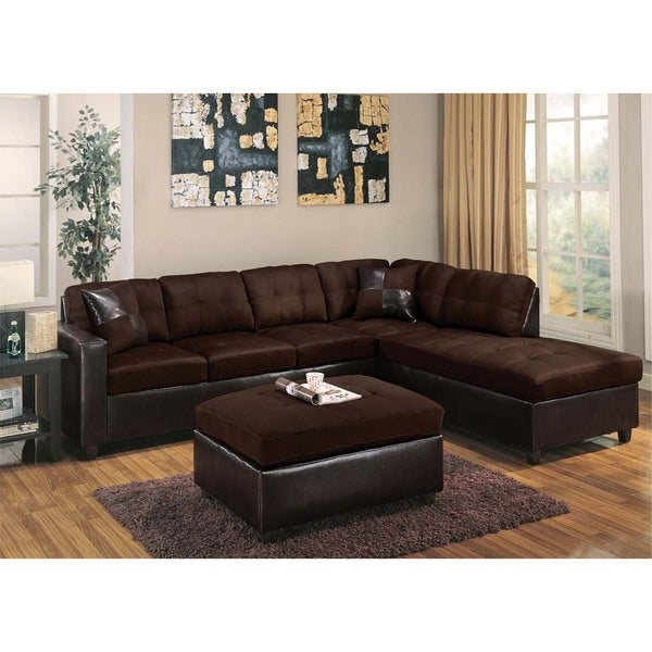 shop cherkasy sectional with matching ottoman and pillows in chocolate free shipping today. Black Bedroom Furniture Sets. Home Design Ideas