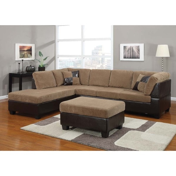 bursa crestline corduroy sectional sofa set with pillows and matching ottoman free shipping. Black Bedroom Furniture Sets. Home Design Ideas
