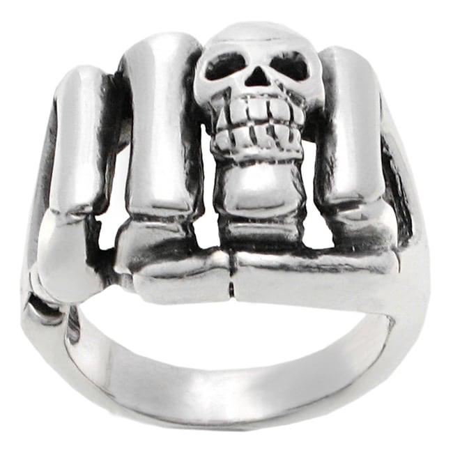 Vance Co. Men's Sterling Silver Skull Fist Ring
