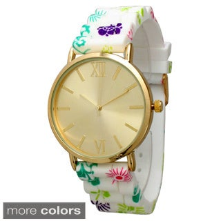 Olivia Pratt Floral Silicone Stainless Steel Watch (Option: Gold Multi Floral)
