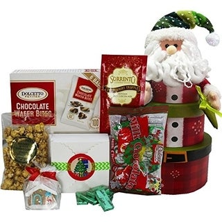 Santa Christmas Holiday Gift Tower of Sweets and Treats