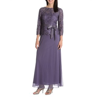 Patra Women's Sheer Yoke and 3/4 Sleeves Lace Bodice Ribbon Belted Evening Gown
