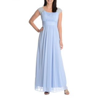 Patra Women's Pleated Empire Waist Evening Gown