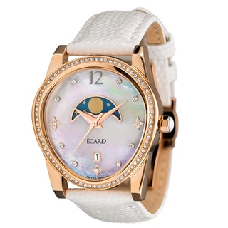 Egard Women's PSG-BEA-WHT Passages Beauty Limited Edition Round Blue Leather Strap Watch