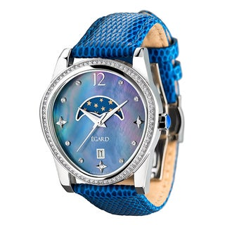 Egard Women's PSG-BEA-BLU Passages Beauty Limited Edition Round Blue Leather Strap Watch