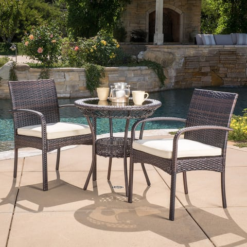 Ridley Outdoor 3-piece Wicker Bistro Set with Cushions by Christopher Knight Home