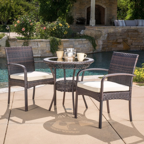 shop ridley outdoor 3 piece wicker bistro set with cushions by christopher knight home on sale. Black Bedroom Furniture Sets. Home Design Ideas