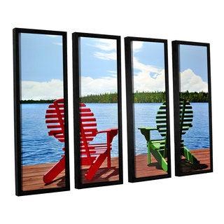 ArtWall Ken Kirsh 'Dockside' 4 Piece Floater Framed Canvas Set