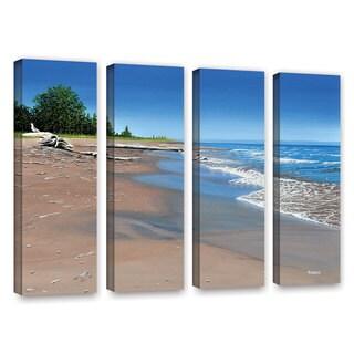 ArtWall Ken Kirsh 'Driftwood Beach' 4 Piece Gallery-Wrapped Canvas Set