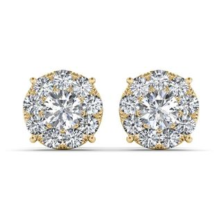 De Couer 10k Yellow Gold 1 1/4ct TDW Diamond Cluster Earring (H-I, I2)