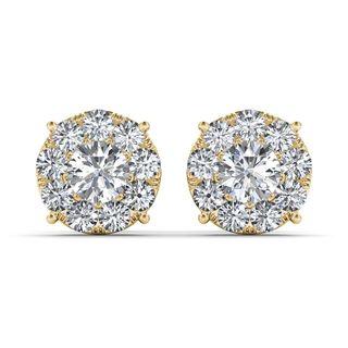 De Couer 10k Yellow Gold 1 1/4ct TDW Diamond Cluster Earring
