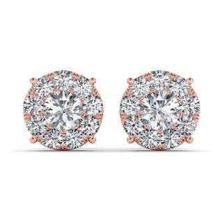 De Couer 10k Rose Gold 1 1/4ct TDW Diamond Cluster Earring (H-I, I2)