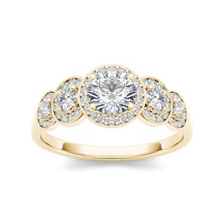 De Couer 14k Yellow Gold 3/4ct TDW Diamond Halo Engagement Ring
