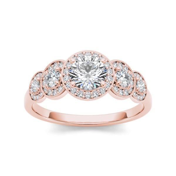 De Couer 14k Rose Gold 3/4ct TDW Diamond Halo Engagement Ring