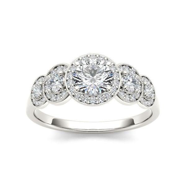 De Couer 14k White Gold 3/4ct TDW Diamond Halo Engagement Ring
