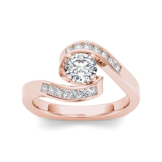 De Couer 14k Rose Gold 3/4ct TDW Diamond Bypass Halo Engagement Ring (H-I, I2)