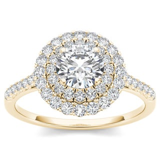 De Couer 14k Yellow Gold 1ct TDW Diamond Double Halo Engagement Ring (H-I, I2)