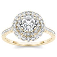 De Couer 14k Yellow Gold 1ct TDW Diamond Double Halo Engagement Ring