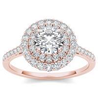 De Couer 14k Rose Gold 1ct TDW Diamond Halo Engagement Ring - Pink