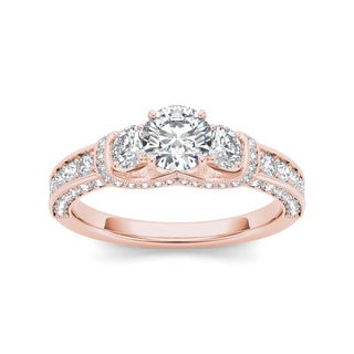 De Couer 14k Rose Gold 1 1/5ct TDW Diamond 3-stone Anniversary Ring - Pink