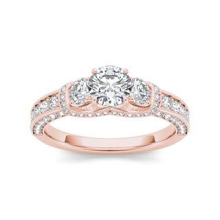 De Couer 14k Rose Gold 1 1/5ct TDW Diamond 3-stone Anniversary Ring