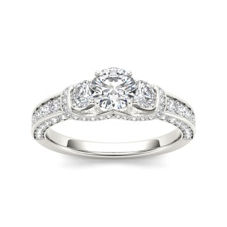 De Couer 14k White Gold 1 1/5ct TDW Diamond 3-stone Anniversary Ring - White H-I
