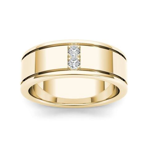 De Couer 14k Yellow Gold 1/2ct TDW Diamond Men's Classic Wedding Band