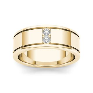 De Couer 14k Yellow Gold 1/2ct TDW Diamond Men's Classic Wedding Band (H-I, I2)