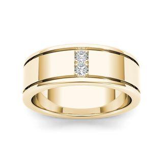 De Couer 14k Yellow Gold 1/2ct TDW Diamond Men's Classic Wedding Band