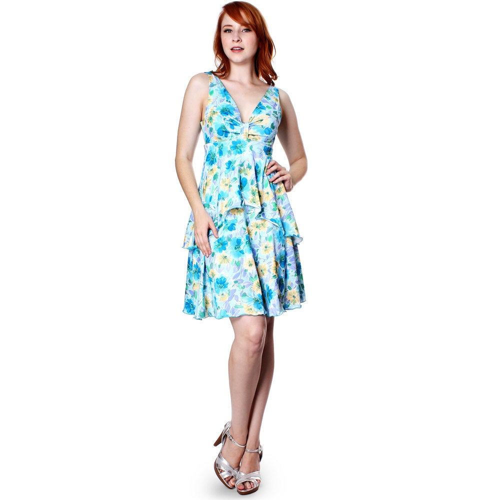 Evanese Womens Summer Floral Printed Sleeveless Short Tiered Dress