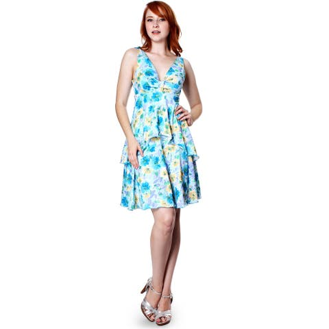 Evanese Women's Summer Floral Printed Sleeveless Short Tiered Dress