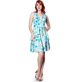 Link to Evanese Women's Summer Floral Printed Sleeveless Short Tiered Dress Similar Items in Dresses
