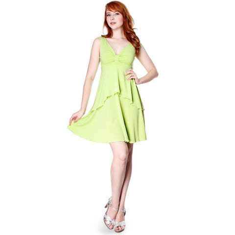 Evanese Women's Summer Solid Sleeveless Short High-low Tiered Cocktail Dress