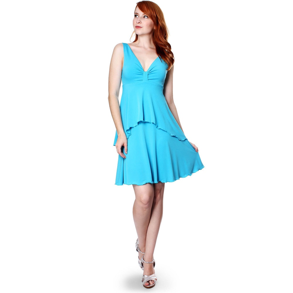 Evanese Womens Summer Solid Sleeveless Short High-low Tiered Cocktail Dress