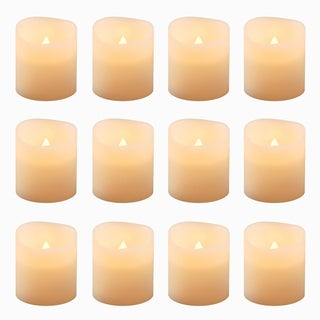 Battery Operated Flickering Amber Votive Candles (Set of 12)