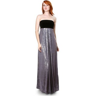 Evanese Women's Cocktail Strapless Tube Metallic Print Maxi Dress