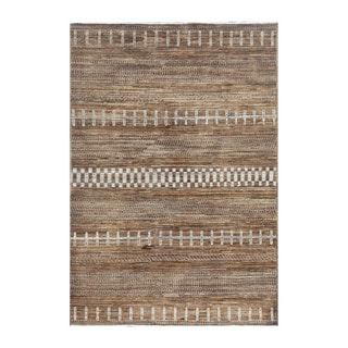 Herat Oriental Afghan Hand-knotted Tribal Vegetable Dye Gabbeh Light Brown/ Gray Wool Rug (4' x 5'10