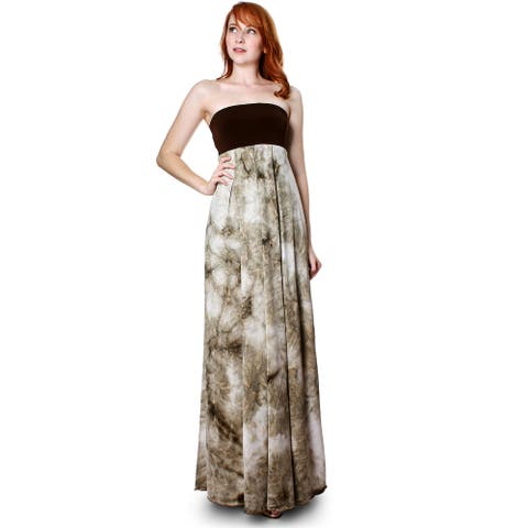 Evanese Women's Summer Cocktail Strapless Tube Tie dye Print Maxi Long Dress