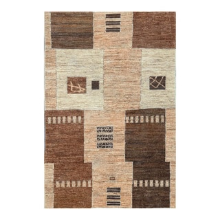 Herat Oriental Afghan Hand-knotted Tribal Vegetable Dye Gabbeh Tan/ Brown Wool Rug (3'10 x 5'9)