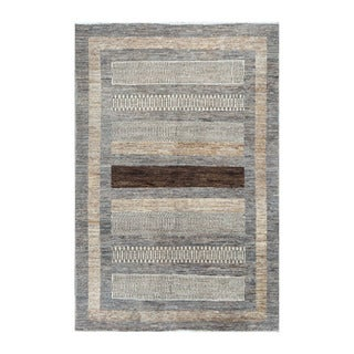 Herat Oriental Afghan Hand-knotted Tribal Vegetable Dye Gabbeh Gray/ Beige Wool Rug (3'11 x 5'9)