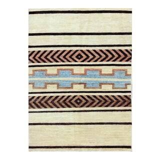 Herat Oriental Afghan Hand-knotted Tribal Vegetable Dye Gabbeh Light Yellow/ Black Wool Rug (3'10 x