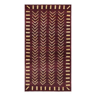 Herat Oriental Afghan Hand-knotted Tribal Vegetable Dye Gabbeh Burgundy/ Gold Wool Rug (3'7 x 6'9)