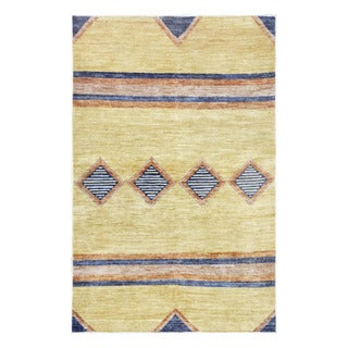 Herat Oriental Afghan Hand-knotted Tribal Vegetable Dye Gabbeh Yellow/ Orange Wool Rug (4' x 6'4)