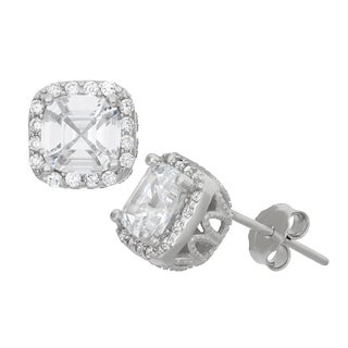 Gioelli Sterling Sterling Silver Asscher-cut Cubic Zirconia Stud Earrings