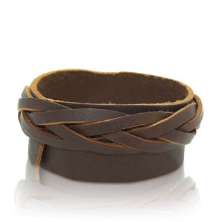 Gioelli Brown Leather Adjustable Double Braided Bracelet