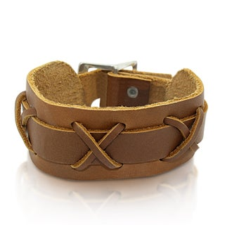 Gioelli Brown Leather Adjustable 'X' Bracelet
